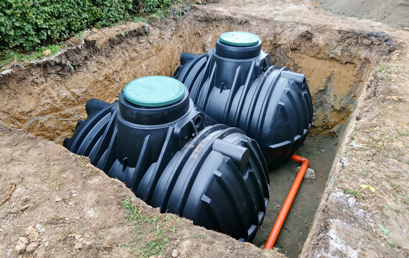 Two Septic Tanks in the ground